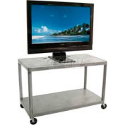 "Luxor Gray Plasma & Flat Panel Monitor Shelf Cart 32"" H 2 Shelves"