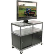 "Luxor Gray Plasma & Flat Panel Monitor 3 Shelf Security Cart 38"" H"