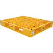 Stackable Plastic Pallet 47-3/8x39-1/2x6, 6600 lb Floor & 2200 lb Fork Cap.Yellow