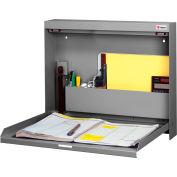 "Datum WallWrite® Non Locking, Folding Wall Mount Desk, 20""W x 3-3/8""D x 16-3/8""H, Gray"