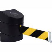 Tensabarrier Safety Crowd Control, Rack Mount Barrier, Blk W/ 15' Blk/Yllw Retractable Belt