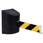 Tensabarrier Black Warehouse Rack Wall Mount 24'L Black/Yellow Chevron Retractable Belt Barrier