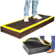 """7/8"""" Thick Anti Fatigue Mat - Black with Yellow Border 24x48"""
