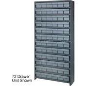 Quantum CL1275-701 Closed Shelving Euro Drawer Unit - 36x12x75 - 48 Euro Drawers Gray