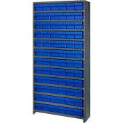 Quantum CL1275-601 Closed Shelving Euro Drawer Unit - 36x12x75 - 72 Euro Drawers Blue