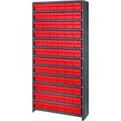 Quantum CL1275-601 Closed Shelving Euro Drawer Unit - 36x12x75 - 72 Euro Drawers Red