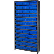 Quantum CL1875-602 Closed Shelving Euro Drawer Unit - 36x18x75 - 72 Euro Drawers Blue