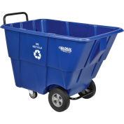Global Industrial™ Standard Duty Plastic Recycling Tilt Truck,1/2 Cu. Yd. Cap,750 Lbs. Cap,Blue