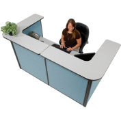 """U-Shaped Reception Station, 88"""" W x 44""""D x 44""""H, Gray counter, Blue Panel"""