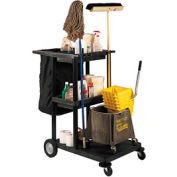 Luxor® JCB30 Janitor Cart with 3 Shelves & Nylon Bag