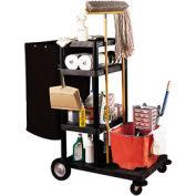 Luxor® JCB40 Janitor Cart with 4 Shelves & Nylon Bag