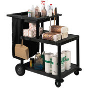 Luxor® MSB42 Janitor Cart with 3 Shelves & Nylon Bag