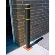 """7""""x 60"""" Bollard Cover - Black Cover/Yellow Tapes"""