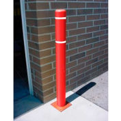 "7""x 72"" Bollard Cover - Red Cover/White Tapes"