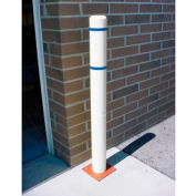 "7""x 72"" Bollard Cover - White Cover/Blue Tapes"