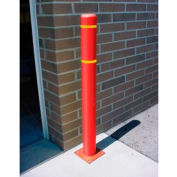 "8""x 72"" Bollard Cover - Red Cover/Yellow Tapes"