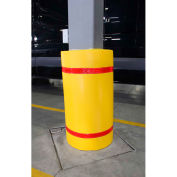 """44""""H x 36""""W Soft Nylon Column Protector -  Yellow Cover/Red Tapes"""