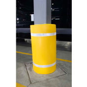 "44""H X 72""W Soft Nylon Column Protector - Yellow Cover/White Tapes - Pkg Qty 6"