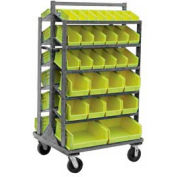 "Jamco Steel Mobile Sloped Top Bin Rack RB336U600GP - All-Welded with 58 Bins 36""W x 66""H"