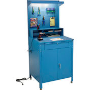 """Shop Desk w Lower Cabinet and Pigeonhole Compartment with Pegboard Riser 34-1/2""""W x 30""""D x 80""""H"""