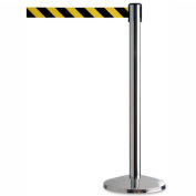 Polished Stainless Steel Crowd Control Stanchion With 7-1/2 Ft Yellow/Black Belt - Pkg Qty 2