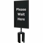 "Black Sign (Please Wait Here - 1 Side) 7"" x 11"" w/ Adapter"