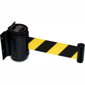 "Black Wall Mount Barrier with 7'6"" Ft Yellow/Black Diagonal Stripe Belt"