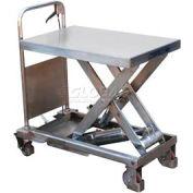 Vestil Stainless Steel Mobile Scissor Lift Table CART-400-PSS 400 Lb. Capacity