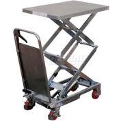Vestil Stainless Steel Mobile Scissor Lift Table CART-800-D-PSS 800 Lb. Capacity