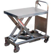 Vestil Stainless Steel Mobile Scissor Lift Table CART-1000-PSS 1000 Lb. Capacity