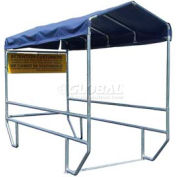 """VersaCart® Double Shopping Cart Corral without Divider with Blue Canopy 12'L x 60""""W"""