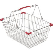 VersaCart ® Wire Shopping Basket 30 Liter With Red Plastic Grips - Pkg Qty 20