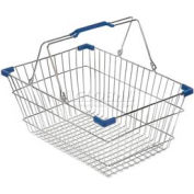 VersaCart ® Wire Shopping Basket 30 Liter With Blue Plastic Grips - Pkg Qty 20