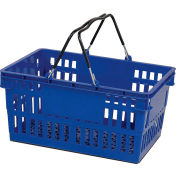VersaCart ® Blue Plastic Shopping Basket 26 Liter With Black Plastic Grips Wire Handle - Pkg Qty 12