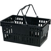 VersaCart ® Black Plastic Shopping Basket 26 Liter With Black Plastic Grips Wire Handle - Pkg Qty 12