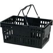 VersaCart ® Black Plastic Shopping Basket 26 Liter With Black Plastic Grips Wire Handle - Pkg Qty 12