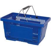 VersaCart ® Blue Plastic Shopping Basket 28 Liter With Black Plastic Grips Wire Handle - Pkg Qty 12