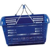 VersaCart ® Blue Plastic Shopping Basket 30 Liter With Black Plastic Grips Wire Handle - Pkg Qty 20