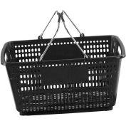 VersaCart ® Black Plastic Shopping Basket 30 Liter With Black Plastic Grips Wire Handle - Pkg Qty 20
