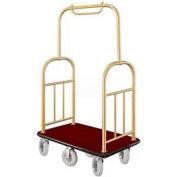 Glaro Ball Top Bellman Cart 48x25 Satin Brass Burgundy Carpet, 6 Pneumatic Wheels