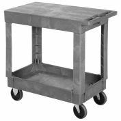 "Best Value Plastic Flat Top Shelf Rolling Service Cart 34x17 - 5"" Rubber Casters"
