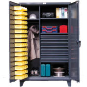 Strong Hold® Heavy Duty  Bin Cabinet 46-WBD-243-7DBLD - With 48 Bins And Drawers 48x24x78