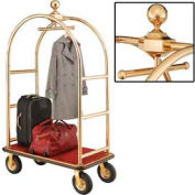 "Best Value Gold Stainless Steel Bellman Cart Curved Uprights 8"" Pneu. Casters"