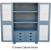 """Jamco Heavy Duty Cabinet HU236 Expanded Metal Door with Drawers, Welded 36""""W x 24""""D x 78""""H"""