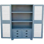 """Jamco Heavy Duty Cabinet HU248 Expanded Metal Door with Drawers, Welded 48""""W x 24""""D x 78""""H"""