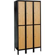 Hallowell UW3288-2MEW Wood/Metal Hybrid Locker Double Tier 12x18x36 6 Door Ready to Assemble