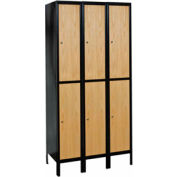 Hallowell UW3588-2MEW Wood/Metal Hybrid Locker Double Tier 15x18x36 6 Door Ready to Assemble
