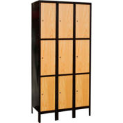 Hallowell UW3288-3A-MEW Wood/Metal Hybrid Locker Triple Tier 12x18x24 9 Door Assemble