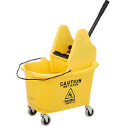 Global Industrial™ Mop Bucket And Wringer Combo 38 Qt., Down Press, Yellow