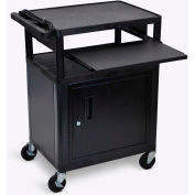 """Luxor Security AV Cart with Pull-Out Laptop Shelf 34""""H"""